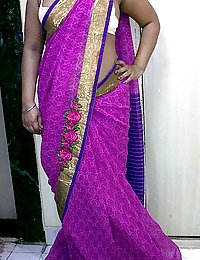 indian homemaker stripping her traditional indian outfits